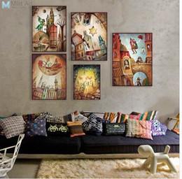 Immagini barche online-Vintage Retro Fantasy City Dream Boat Star Poster A4 Stampa astratta Fata Wall Art Pictures Home Decor dipinti su tela No Frame
