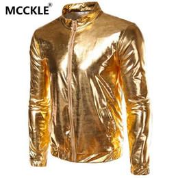 Al por mayor-primavera otoño moda chaqueta para hombre recubierto metálico oro plata Hip Hop chaquetas para hombres Night Club Wear brillante chaqueta Q2019 desde fabricantes