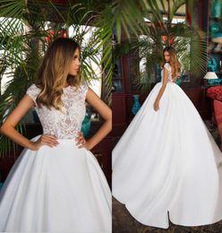 Deutschland Günstige Brautkleider Vintage Lace Satin Dubai Brautkleider Illusion Mieder Cap Sleeves V Zurück Öffnen Formale Hochzeitsfeier Kleid Versorgung