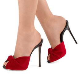 damengröße abendschuhe Rabatt Frauen High Heel Knotted Mules 2018 Sexy Damen Schwarz Rot Velvet Sommer Schuhe Peep Toe Sandalen Party Abendkleid Heels Big Size