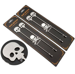 Wholesale tea sticks - 2pcs set Skull Coffee Stirrers Stainless Steel Tea  Coffee Stirring Spoon Cocktail Picks Bar Tool Home Decor GGA506 30pcs