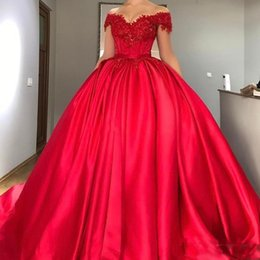 0dc20a4af97 Modest Off Shoulder Red Ball Gown Prom Dresses Appliques Beaded Satin Corset  Lace Up Evening Gowns Plus Custom Made Sweet Sixteen Dresses prom dresses  ...