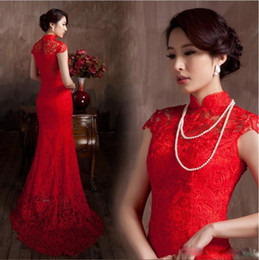 Wholesale chinese sexy traditional dress - Free shipping Vintage Mermaid Lace Material Red Evening dresses Luxury Chinese Traditional Prom Party Gowns custom made