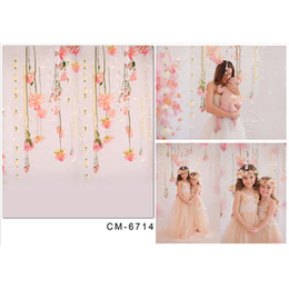 Wholesale Portrait Painting Backgrounds - Pink Flowers Children Girl Backdrops for Photography Printed Baby Newborn Photo Shoot Wallpaper Props Kids Studio Portrait Backgrounds