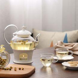 Wholesale China Glaze Sets - Candle Heated Teapot Base Flower Ceramic Glass Teapot 2 pieces  set Teapot And Base Tea Set Tea Pot Theepot Style-006