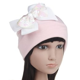 Девочка вязание шляпы берет онлайн-Детские девочки шляпу блестят детей блестки лук принцессы шляпу бутик младенцев детей вязание шляпу берет мода baby хлопок мягкой beanies YA0117