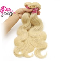 Wholesale colored extensions wholesale - Beauty Forever Colored Peruvian Human Hair 3 Bundles Body Wave Bundles 613 Blonde Hair Extension Wholesale Brazilian Virgin Hair Cheap Weave