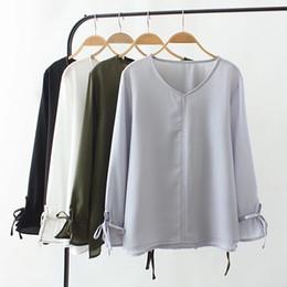 camisa gris oscuro Rebajas Blusa de chifón con cuello en V, talla grande, para mujer 2018, gris, blanco, negro, verde, negro, camisa, manga casual de mariposa, primavera, otoño, tops