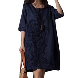Wholesale Plus Size White Linen Dress - 2018 New Summer Dress Women Floral Embroidery Cotton Linen Dresses Female Casual Loose Vintage Dress Vestidos Plus Size SF627