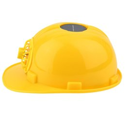 solar helmets Promo Codes - Solar Safety Helmet Outdoor Solar Energy Cooling Cool Fan Safety Helmet Hard Ventilate Hat Cap Yellow Color Bike Accessories