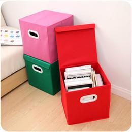 recipientes tampa rosa Desconto Caixas de armazenamento de roupa de tecido de linho de tampa Cor vermelha rosa dobrável Multi função molde Moldar recipiente quadrado 5 5 ff