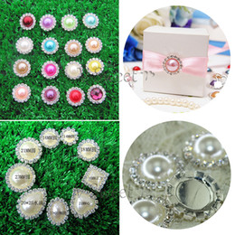 Wholesale 14mm Buttons - 14mm 16mm 18mm 21mm 23mm Hot Sale Flat Back Ivory Rhinestone Pearl Buttons Colorful Metal Crystal Loose Diamonds Love Round Drop Jewelry DIY