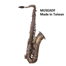 Wholesale antique bakelite - Original Taiwan MUSEADF T-92 Professional Tenor Saxophone Brand Instrument B Flat Unique Antique Copper Brass Sax