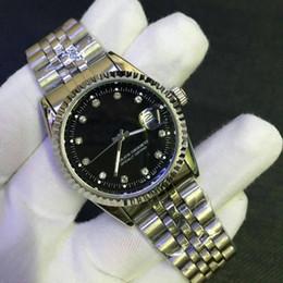 Fecha del reloj del rhinestone online-De calidad superior 36 mm rhinestone hombres de lujo de marca de acero inoxidable reloj de cuarzo casual simple auto fecha hombres vestido reloj al por mayor relojes masculinos regalo