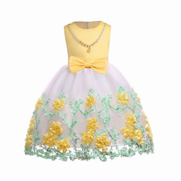 Vendita al dettaglio 2018 Summer New Girl Flower Dress Collana Bow Sleeveless Party Dress Abbigliamento per bambini 3-10Y Giallo Rose Blue E2105 da