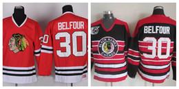 Ed belfour онлайн-CCM Чикаго Блэкхокс хоккей #30 Ed Belfour Джерси Главная Красный урожай 75-летие сшитые высокое качество
