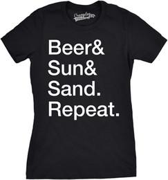 Canada Bière Sun Sand Femme Répéter Drôle Summertime Boire Plage T-shirt Offre