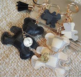 gioielli in pietra blu stella Sconti 30pcs portachiavi nappa chiave anello portachiavi in pelle PU modello orso portachiavi auto gioielli fascino accessori J113