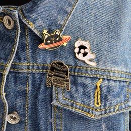 Wholesale Friends Sweater - Miss Zoe 3pcs set Sweater Kitten Cat Planet Stars CD Cat Dark Brooch Denim Jacket Pin Buckle Shirt Badge Gift for Friends