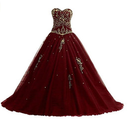 couture ball Promo Codes - 2018 New Real Photos Burgundy Red Gold Princess Wedding Dresses Sweetheart Beaded Embroidery Corset Back Ball Gown Bridal Gowns Couture