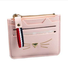 Wholesale vintage cat christmas cards - QIMANSHI Women Coin Purses Card Holder Wallet Mini Credit Card Holders For Female Lovely Cat Ear Cash Card Purse