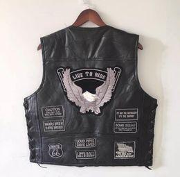 Ärmellose lederjacke herren online-Herren Eagle Patch Schwarz Echtes Leder Motorrad Weste + Schnürung US Flag MC Schaffell Sleeveless Biker Jacken Grau Patch