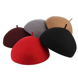 Elegant Lady Solid Color Wool Felt Beret Hats For Women Autumn Winter Hat  Warm Artist Flat Cap Boina Female Berets f5c76619de45