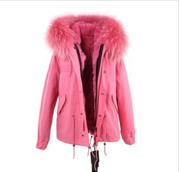 parka revestida de pele rosa Desconto Jaquetas de peles de menina guaxinim guarnição da pele do revestimento JAZZEVAR marca forro de pele de coelho rosa pink canvas mini mulheres parkas