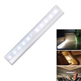 2019 встроенные аварийные фонари PIR датчик движения светодиодные лампы 10 светодиодов ночь свет батареи светодиодные ночь свет для спальни кухня шкаф украшения шкафа