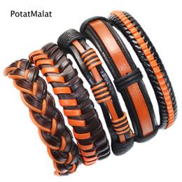 confezione regalo arancione Sconti 5 Pz / lotto Uomini Vintage Corda Intrecciata In Pelle Arancione Braccialetti Multistrato Wristband Wrap Bracciali Per Le Donne Jewerly Regalo F30