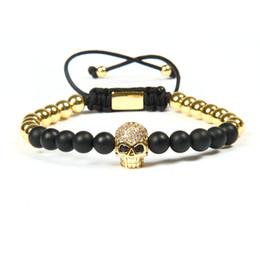 Wholesale Skull Bead Bracelet Diy - Brand New Jewelry Wholesale 10pcs lot 6mm Beads Black Cz Eye Male Skull Macrame Bracelets Men Diy Skull Bracelet