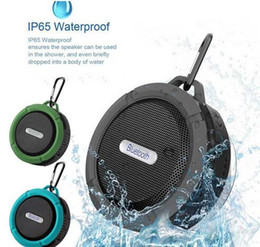 Wholesale Music Player For Mobile - C6 Speaker Bluetooth Speaker Wireless Potable Audio Waterproof Speaker Hook And Suction Cup Stereo Music Player With package MIS183