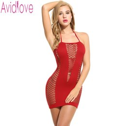 Wholesale halter babydoll lingerie - Avidlove Sexy Nightdress Hollow Out Halter Slim Dress Sexy Lingerie Sleepwear Bodycon Night Dress Stretchy Babydoll Nightwear