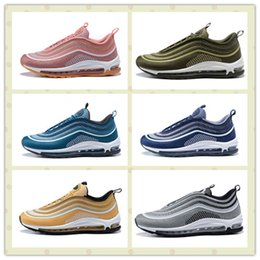 Wholesale Hard Plastic Boxes - Cheap Black 97 Ultra Metallic Gold 3M Shoes Pink Men Women Retro Outdoors Trainers Sneakers With Boxes Size US5.5--11 Hot Sale