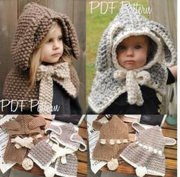 Wholesale baby kids rabbit ear hat - Winter Baby Hats Caps Rabbit Ear Shawl Kids Wool Knitted Hats Baby Girls Shawls Rabbit Ears Knitted Beanie Scarf hat KKA3912
