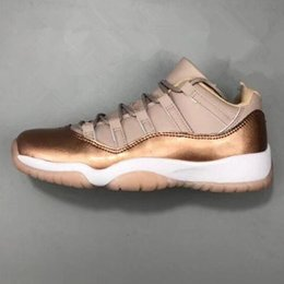 Tênis de basquete meninas corte baixo on-line-2018 11 11s Low GS Rose Gold Metallic Bronze Women Basketball Shoes XI Sports Trainers Sneakers Girls Outdoor Size 36-40