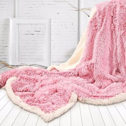 Wholesale Cozy Hands - hot sale 130*160cm Winter Fluffy Throw Blanket Super Soft Long Shaggy Fuzzy Faux Fur Warm Elegant Cozy solid Blanket Bed Sofa