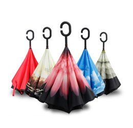 Wholesale Down Proof - Windproof Reverse Closing Double Layer Inverted Umbrella and Inside Out Upside Down Rain Protection ultraviolet-proof Travel Umbrella wen508