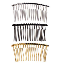Wholesale 5-50Pcs Blank Metal Hair Comb 20 teeth bridal Jewelry hair accessories