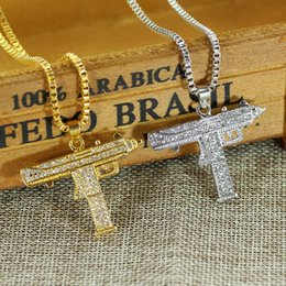 Wholesale Army Pendants - Hip Hop Style Gold Plated Full Rhinestone Iced Out Machine Gun Pendant Pistol Army Charm Necklace Hip Hop Bling Jewelry
