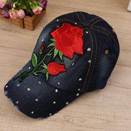 Bling Rhinestone Flower Denim Baseball Cap Women Fashion Embroidery Rose Snapback  Hat Size Adjustable Caps 8097691abfc7