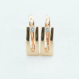 2019 pendentifs africains faits à la main Bijoux de mode 7MM Largeur Femmes 585 Or Couleur Boucles D'oreille Un Cubic Zircon Forme En Forme De Boucle D'oreille
