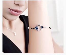 Wholesale Ocean Heart Sets - Wholesale- Brand new pure handmade Luxury heart of ocean sapphire blue 925 sterling silver Austria crystal design bracelets & bangle