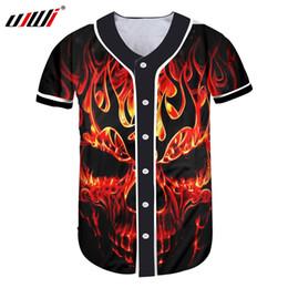 UJWI Camiseta 3D Casual Hombres Camiseta de Béisbol Camiseta de Color Rojo  Fuego Cráneo Camisetas 3D Hombre Gimnasios Sportwears Tees de Fitness Tops  Ropa 84671ed31173a