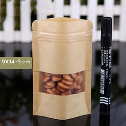 Sachets à thé à fermeture à glissière en papier kraft avec fenêtre mate / bonbons de rangement pour pack étanches à l'humidité jaunes refermables Kraft, poches à haricots ? partir de fabricateur