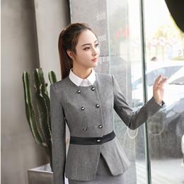 Wholesale Ladies Coat Office Wear - Formal Uniform Styles Long Sleeve Jackets Coat For Ladies Office Work Wear Outwear Blazers Female Tops Autumn Winter Grey