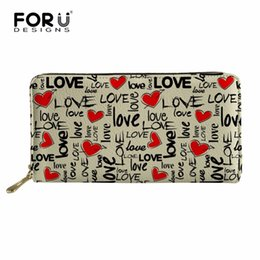 La carpeta del corazón de largo online-FORUDESIGNS Love Heart Long Lady Wallet de gran capacidad Lady Money Bag Clips PU Leather de alta calidad Girl Purse Zipper Wallet