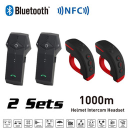 2019 conjuntos de intercomunicación 2 Sets 1000M BT Casco de motocicleta Intercomunicador Bluetooth Intercomunicador con NFC FM Functon + L3 Control remoto conjuntos de intercomunicación baratos