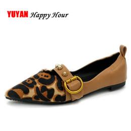 Wholesale Pointed Toe Leopard Flats - Fashion Leopard Shoes Women Pointed Rivets Shoes Women's Flats Ladies Brand Boat Footwear LX001