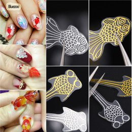 2019 3d metallische nagelaufkleber Blue Zoo 3D Nail Art Sticker Goldfisch Modell Aufkleber DIY Nail Art Dekoration Aufkleber Gold Silber Metallic Decals Lieferant günstig 3d metallische nagelaufkleber